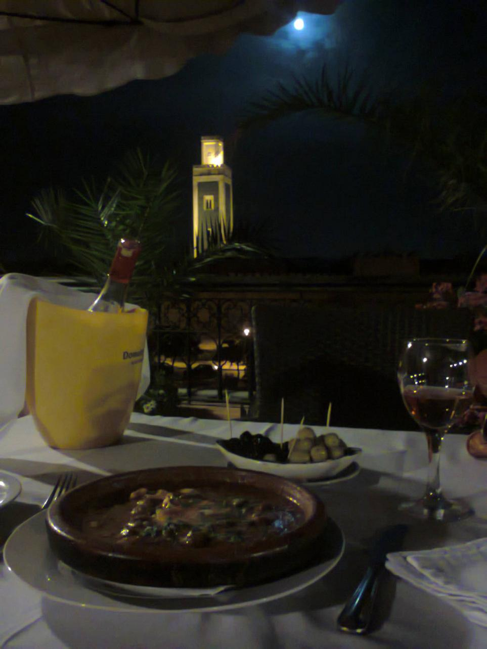 Kefta with eggs, good local wine, full moon, the mosque.. PERFECT evening